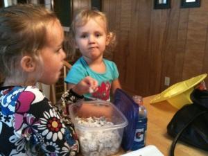 girls munching